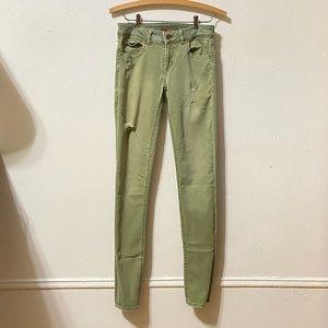 Light Green Distressed Skinny Jeans